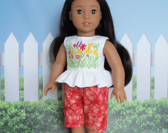 Fits Like American Girl Doll Clothes  / Farmcookies Summer Top and Board Shorts / 18 Inch Doll Clothes for American Girl