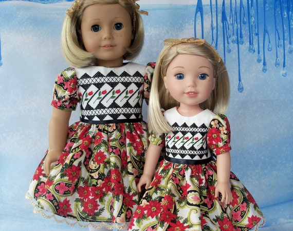 Fits Like American Girl Doll Clothes / Farmcookies Big Sister/ Little Sister Matching Holiday Dresses / 18 and 14 Inch Dresses