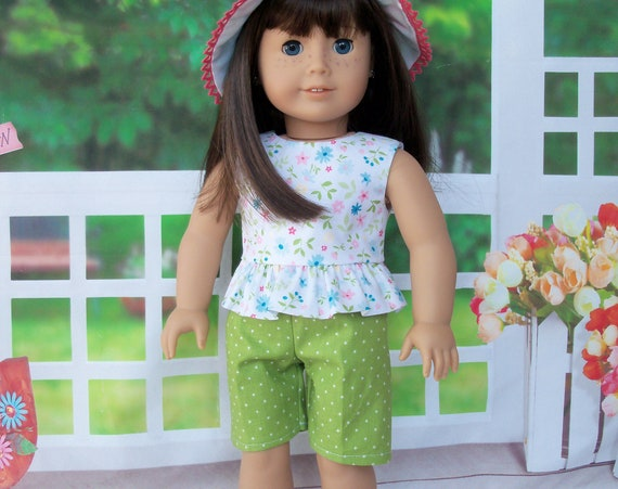 Fits Like American Girl Doll Clothes / 3 Piece Summer Set- Shorts, Top and Hat / 18 Inch Doll Clothes by Farmcookies for American Girl