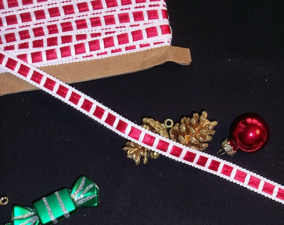 5 Yards Premium Crochet Trim with Red Satin Insertion /Perfect Width Trims for  Doll Clothes