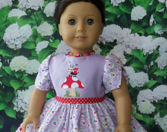 Fits Like American Girl  Doll Clothes / Embroidered Lady Bug Dress and Necklace by Farmcookies /18 Inch Doll Clothes For American Girl