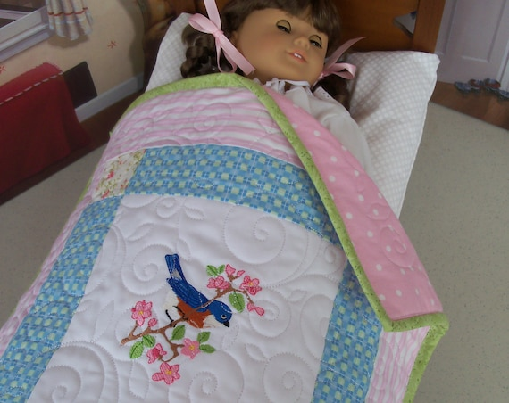 "Farmcookies Embroidered Keepsake Bluebird Heirloom Quilt for 18"" American Girl Doll / Like American Girl Doll Clothes and Bedding"