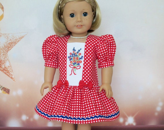Fits Like American Girl Doll Clothes  / Farmcookies Embroidered Summer Dress  / 18 Inch Doll Clothes For American Girl