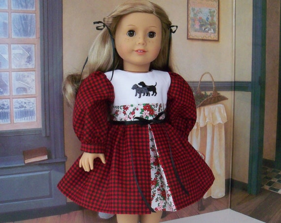 18 Inch DOLL CLOTHES / Farmcookies Embroidered Winter Dress / Fits American Girl and other 18 Inch Doll