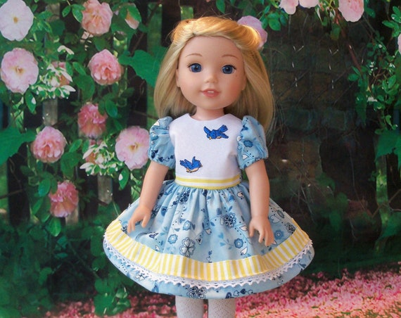 Like Wellie Wisher Doll Clothes/ Farmcookies Embroidered Spring Dress and Shoes / 14 Inch Doll Clothes Fits Wellie Wishers, Glitter Girls
