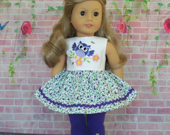 18 inch Size / 2 Piece Set: Owl Be There / 18 Inch Doll Clothes by Farmcookies for American Girl