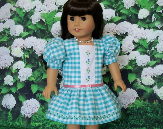 Fits Like American Girl Doll Clothes  / Farmcookies Embroidered Spring Dress  / 18 Inch Doll Clothes For American Girl