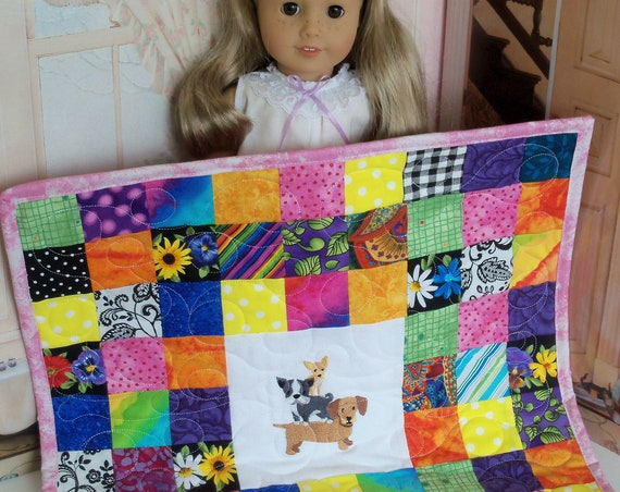 """Farmcookies Patchwork Keepsake Scrap Bag Embroidered Heirloom Quilt for 18"""" American Girl Doll / Like American Girl Doll Clothes and Bedding"""