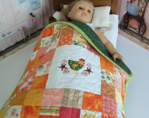"Farmcookies Embroidered Keepsake Country Chicken Heirloom Quilt for 18"" American Girl Doll / Like American Girl Doll Clothes and Bedding"