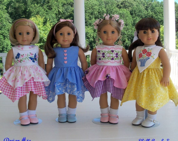 PDF SEWING PATTERN / Fits Like American Girl Doll Clothes /  Swan Lake Handkerchief Dress / 18 Inch Doll Clothes Pattern