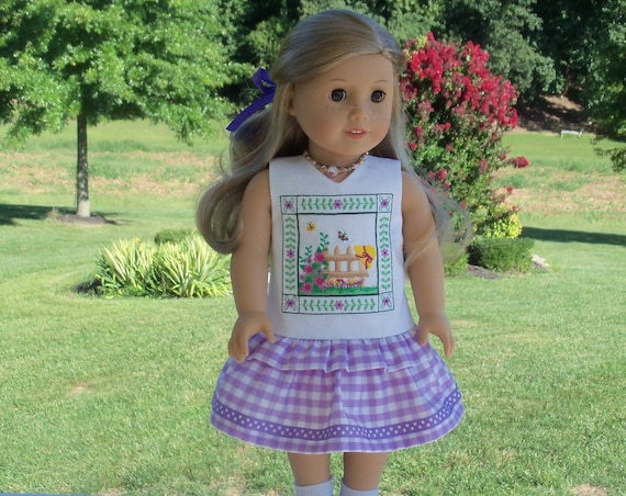 50% OFF ! Like American Girl Doll Clothes / Farmcookies Embroidered Summer Ruffle Dress / 18 Inch Doll Clothes fits American Girl