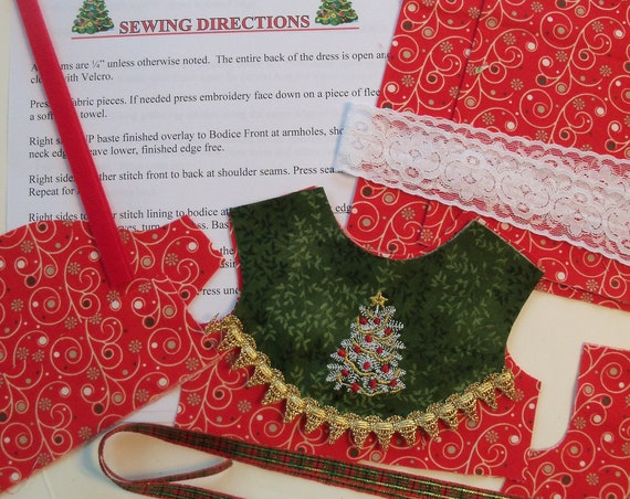 """18"""" Size /COMPLETE SEWING KiT for 18 Inch Doll Clothes / Embroidered Christmas Dress Kit / for American Girl Doll"""
