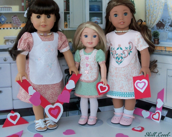 "2 Sizes! XL PRiNTED Sewing Pattern: BE MINE/ for Both 18"" American Girl® & 14"" Wellie Wishers®/ Fits Like American Girl Doll Clothes Pattern"