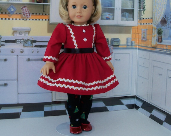 "18 Inch Doll Clothes /  Dress & Christmas Tights by Farmcookies / Fits Like 18""  American Girl Doll Clothes"