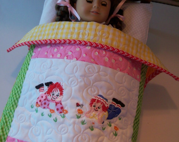 """Farmcookies Embroidered Keepsake Raggedy Ann Heirloom Quilt for 18"""" American Girl Doll / Like American Girl Doll Clothes and Bedding"""