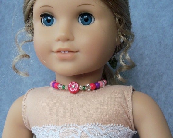 "Pearly Bead Choker Necklace for American Girl or Other 18""  Dolls / Bling for dolls by Farmcookies"