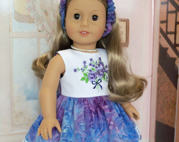 Fits Like American Girl  Doll Clothes / Embroidered  Doll Dress and Headband by Farmcookies / 18 Inch Doll Clothes For American Girl