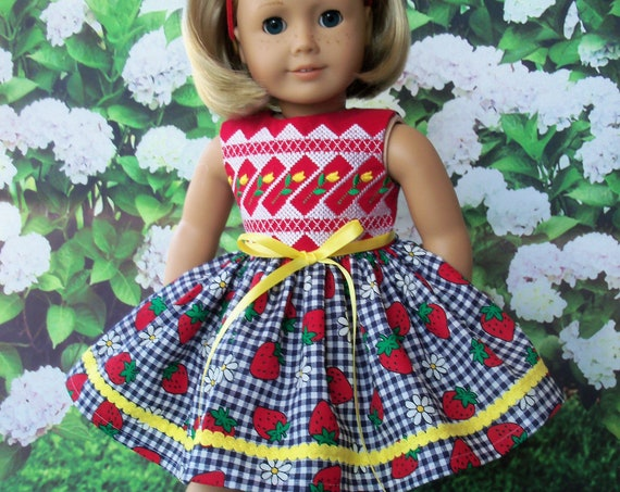 Fits Like American Girl Doll Clothes / Farmcookies Spring Doll Dress  / 18 Inch Doll Clothes/ Summer Doll Dress For American Girl