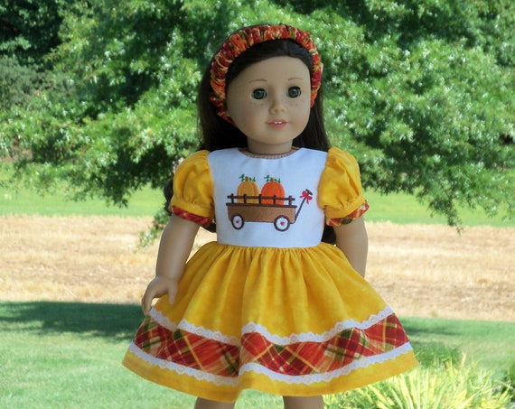 Fits Like American Girl  Doll Clothes / Farmcookies Back to School Doll Dress & Headband  / 18 Inch Doll Clothes For American Girl