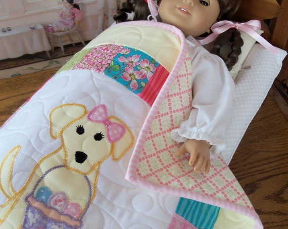 "Farmcookies Embroidered Keepsake  Heirloom Easter Quilt for 18"" American Girl Doll / Like American Girl Doll Clothes and Bedding"