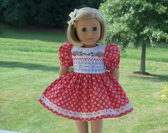 Fits Like American Girl  Doll Clothes / Farmcookies Embroidered Back to School Dress / 18 Inch Doll Clothes For American Girl
