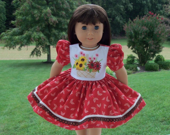 Fits Like American Girl Doll Clothes / Farmcookies 18 Inch Autumn Doll Dress / 18 Inch Doll Clothes For American Girl