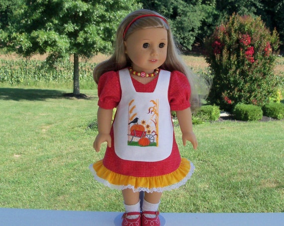 Fits Like American Girl  Doll Clothes / Embroidered Fall Doll Dress by Farmcookies / 18 Inch Doll Clothes For American Girl