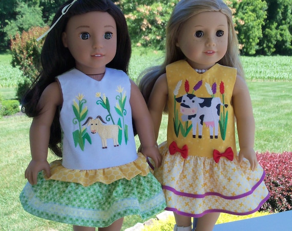 Fits Like American Girl Doll Clothes / Farmcookies 18 Inch Country Girl Doll Dresses / 18 Inch Doll Clothes For American Girl