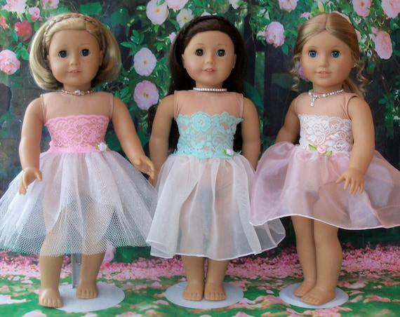 Like American Girl Doll Clothes / Fancy Ballet Dress or  Slip with Attached Strapless Cami  /  Farmcookies 18 Inch Clothes