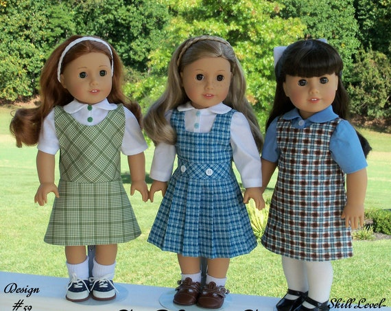 "18"" Size / PRiNTED Sewing Pattern: A CLASS ACT /School Uniform Pattern Fits  American Girl ® or Other 18"" Dolls"