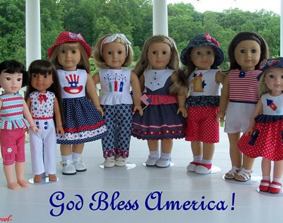 """2 Sizes! PDF Sewing Pattern/ Fits Like 18 Inch American Girl Doll Clothes & 14"""" Wellie Wisher Doll Clothes/ GOD BLESS AMERiCA!"""