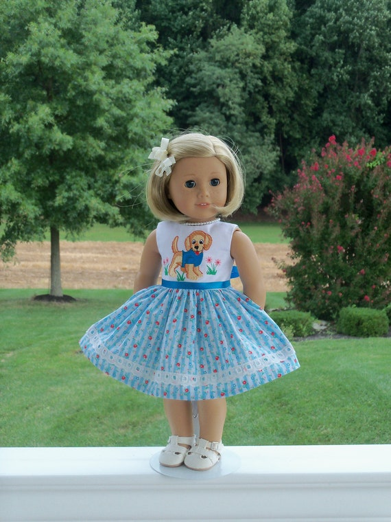 SPECIAL VALUE! Fits Like American Girl  Doll Clothes / Embroidered  Doll Dress by Farmcookies / 18 Inch Doll Clothes For American Girl