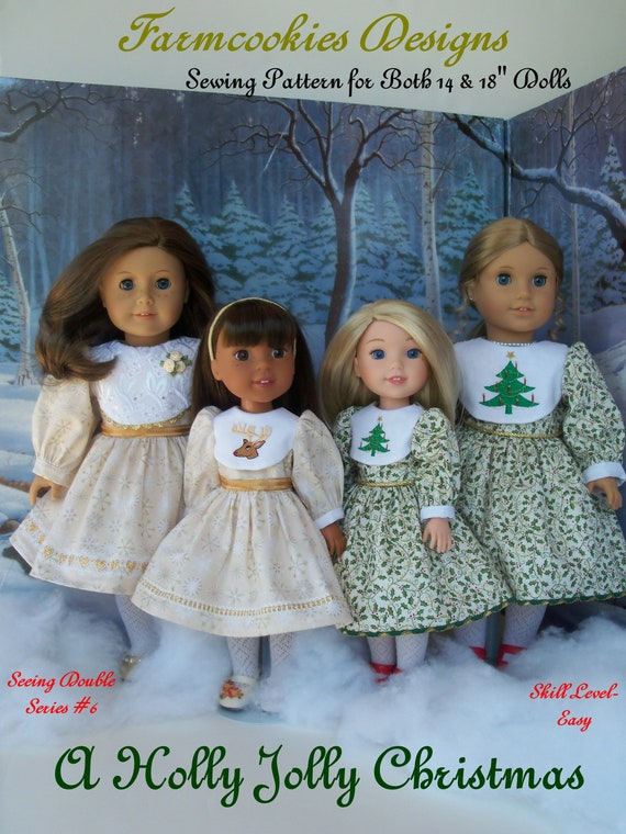 2 Sizes! Fits Like American Girl Doll Clothes & Wellie Wisher doll Clothes. PRINTED SEWING PATTERN / Holly Jolly Christmas