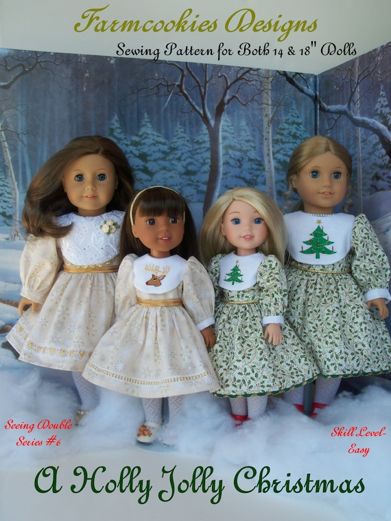 2 Sizes! PDF SEWING PATTERN / Fits Like American Girl Doll Clothes & Wellie Wisher doll Clothes / Holly Jolly Christmas for Both Size Dolls