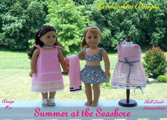 "PDF Sewing Pattern /SUMMER at the SEASHORE / 1950's-1960's  Style Pattern Fits American Girl® or Other 18"" Doll"