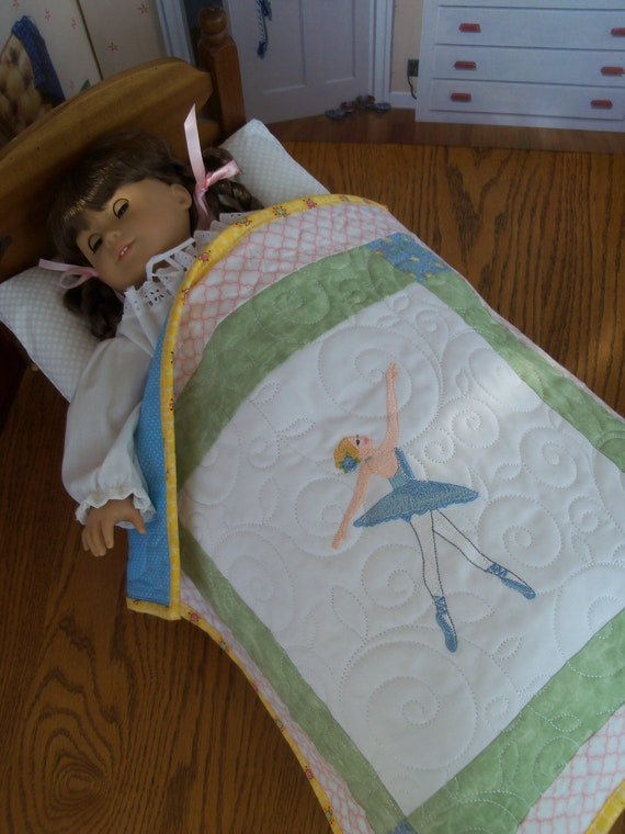 "Farmcookies Embroidered Keepsake Ballerina Heirloom Quilt for 18"" American Girl Doll / Like American Girl Doll Clothes and Bedding"