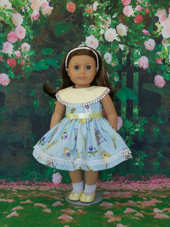 Fits Like American Girl  Doll Clothes / Easter Doll Dress/ Spring Dress by Farmcookies /18 Inch Doll Clothes For American Girl