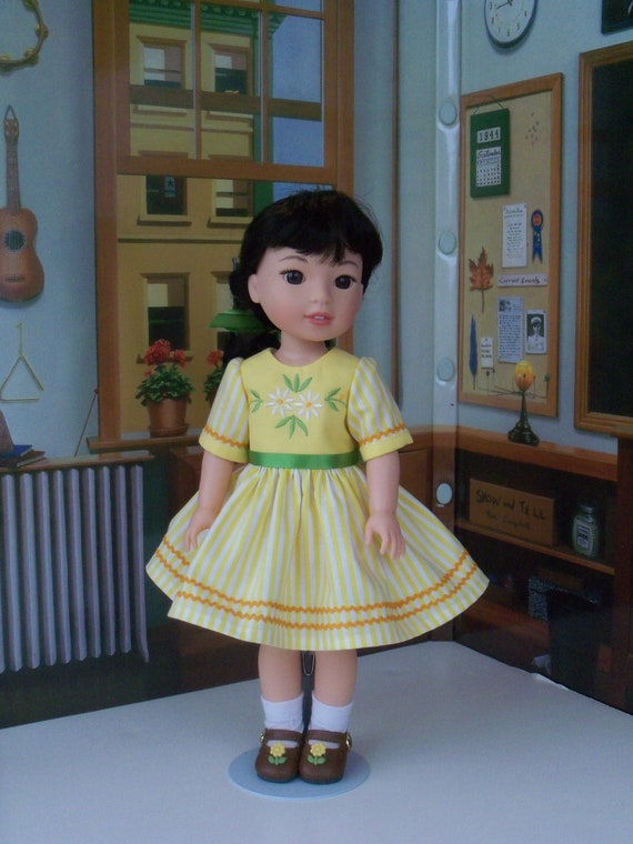 Like Wellie Wisher Doll Clothes/ Farmcookies Embroidered  School Dress and Shoes / 14 Inch Doll Clothes Fits Wellie Wishers, Glitter Girls
