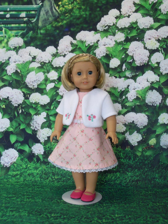 Fits Like American Girl  Doll Clothes /  Spring Dress with Embroidered Jacket by Farmcookies / 18 Inch Doll Clothes For American Girl