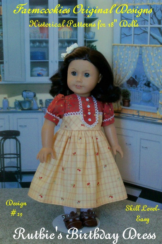 "PRINTED Sewing Pattern / Ruthie's Birthday Dress Fits  American Girl® or other 18"" Dolls"