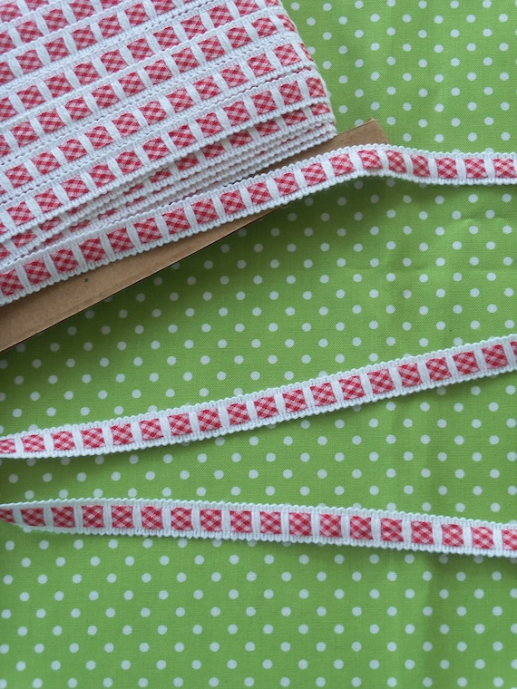 5  Yards Red Gingham Insertion Crochet Trim for Doll Clothes / Farmcookies Doll Clothes Lace & Trims