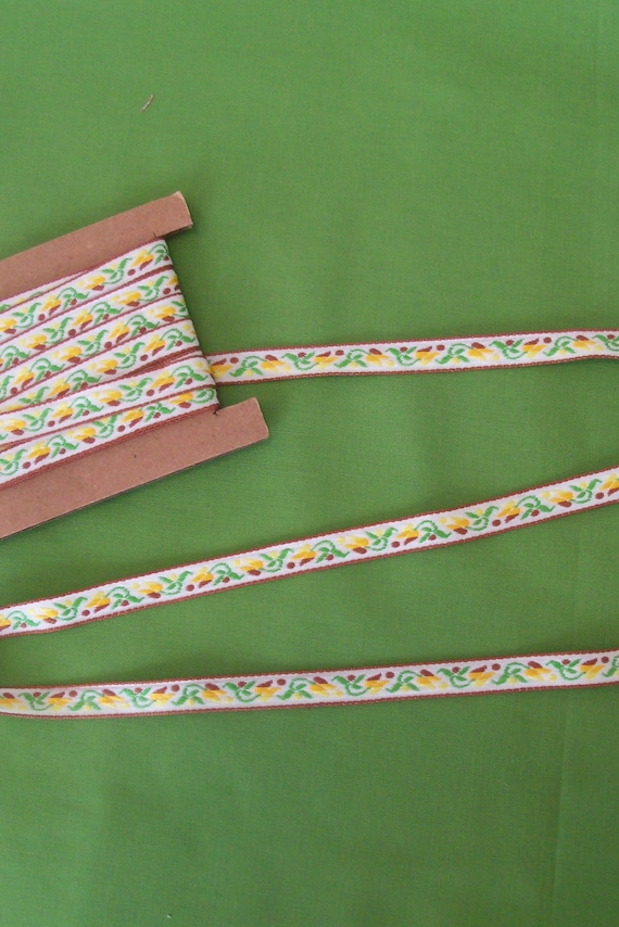 "Over 6 Yards of  3/8"" Wide Jacquard Ribbon Trim  for Doll Clothes / Back to School/ Fall Colors"