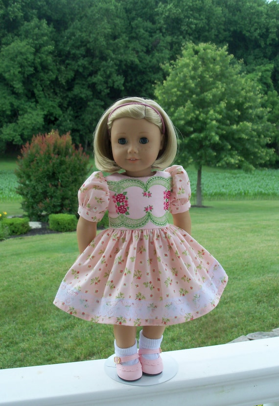 Like American Girl Doll Clothes / Embroidered Special Occasion Dress and Shoes / 18 Inch Doll Clothes