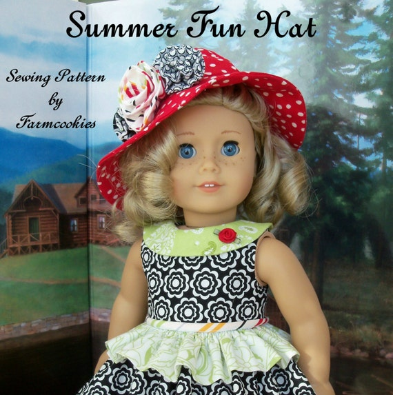 "PDF Sewing Pattern - Summer Fun HAT / Sewing Pattern Fits American Girl®  or Other 18"" Dolls"