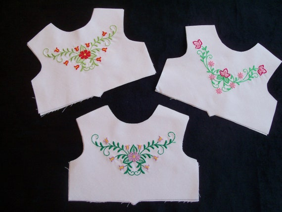 18 Inch size / Farmcookies Embroidered Summer Bodice Fronts  / Linings Included / Clothes for American Girl Doll