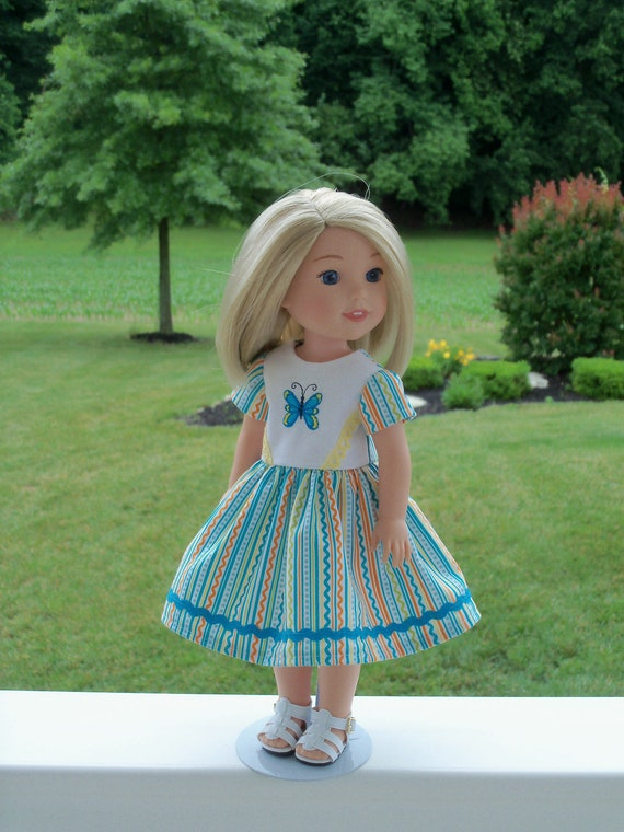 Summer Dress & FREE SANDALS / 14 Inch Dolls Clothes / Like Wellie Wisher Doll Clothes/ Fits Glitter Girl Doll Clothes, H4H, Les Cheris