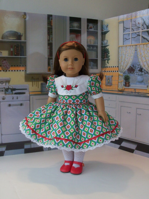 18 Inch DOLL CLOTHES / Embroidered Holiday Christmas Dress and Shoes / Fits American Girl and other 18 Inch Doll