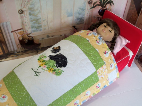 """RESERVED FOR EVELYN / Farmcookies Embroidered Personalized Keepsake Quilt for 18"""" American Girl Doll"""