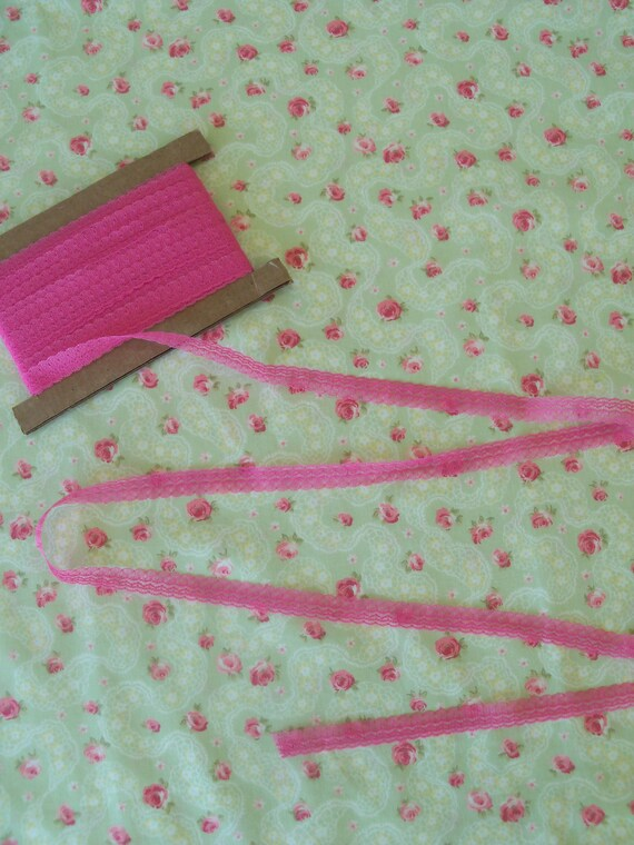 4 yards Rose Pink Lace for Doll Clothes / Farmcookies Narrow Lace and Trims for American Girl Doll Clothes