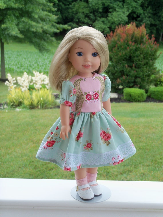 Like Wellie Wisher Doll Clothes / Special Occasion Dress and Shoes / 14 Inch Dolls Clothes